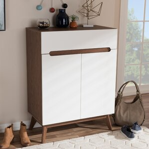 midcentury walnut shoe storage cabinet