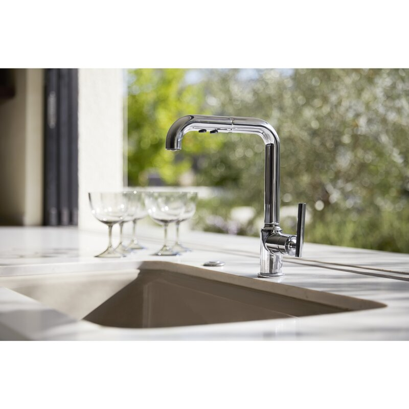 k 7505 bl cp sn kohler purist single kitchen sink faucet with