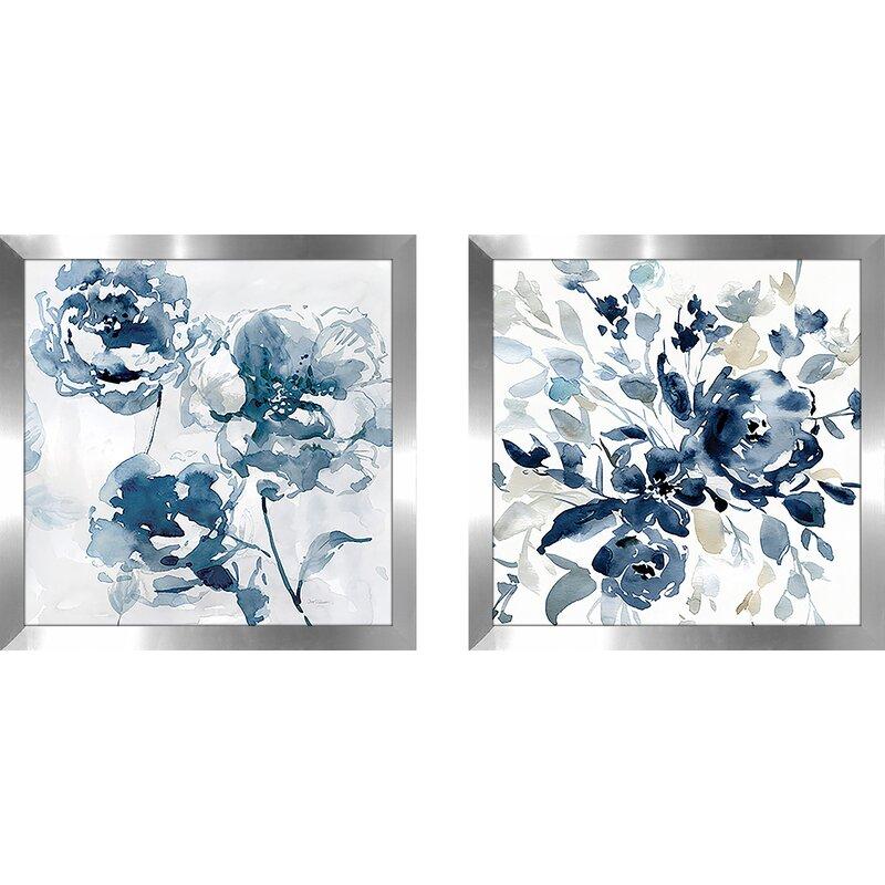 Indigo Garden I 2 Piece Framed Print Set On Glass