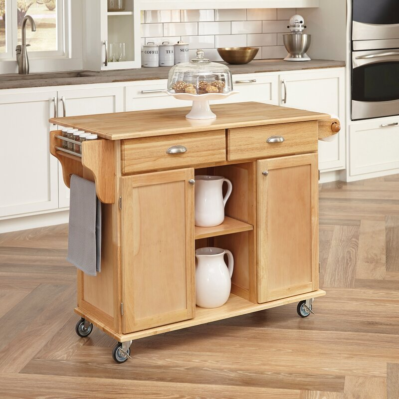 August Grove Lili Kitchen Island with Wood Top & Reviews | Wayfair