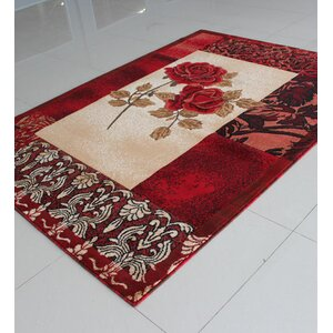 Ivory/Red Area Rug