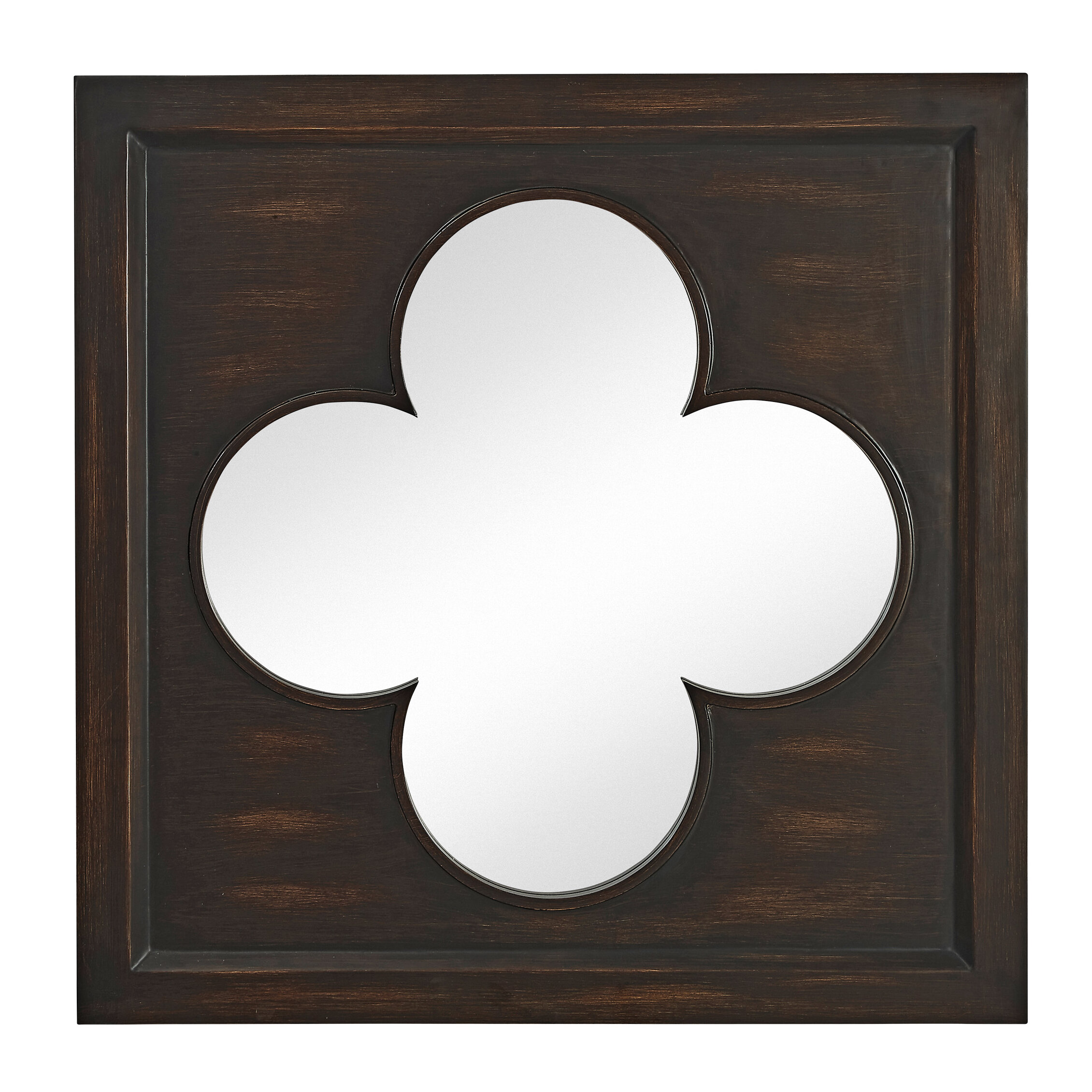 Majestic Mirror Inlay Clover Wood Wenge Square Plain Wall Mirror ...
