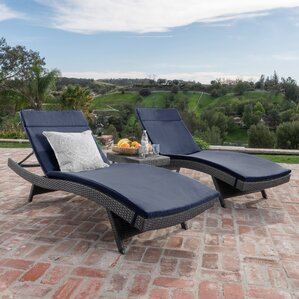 Chantrell Wicker Chaise Lounge With Cushion And Table