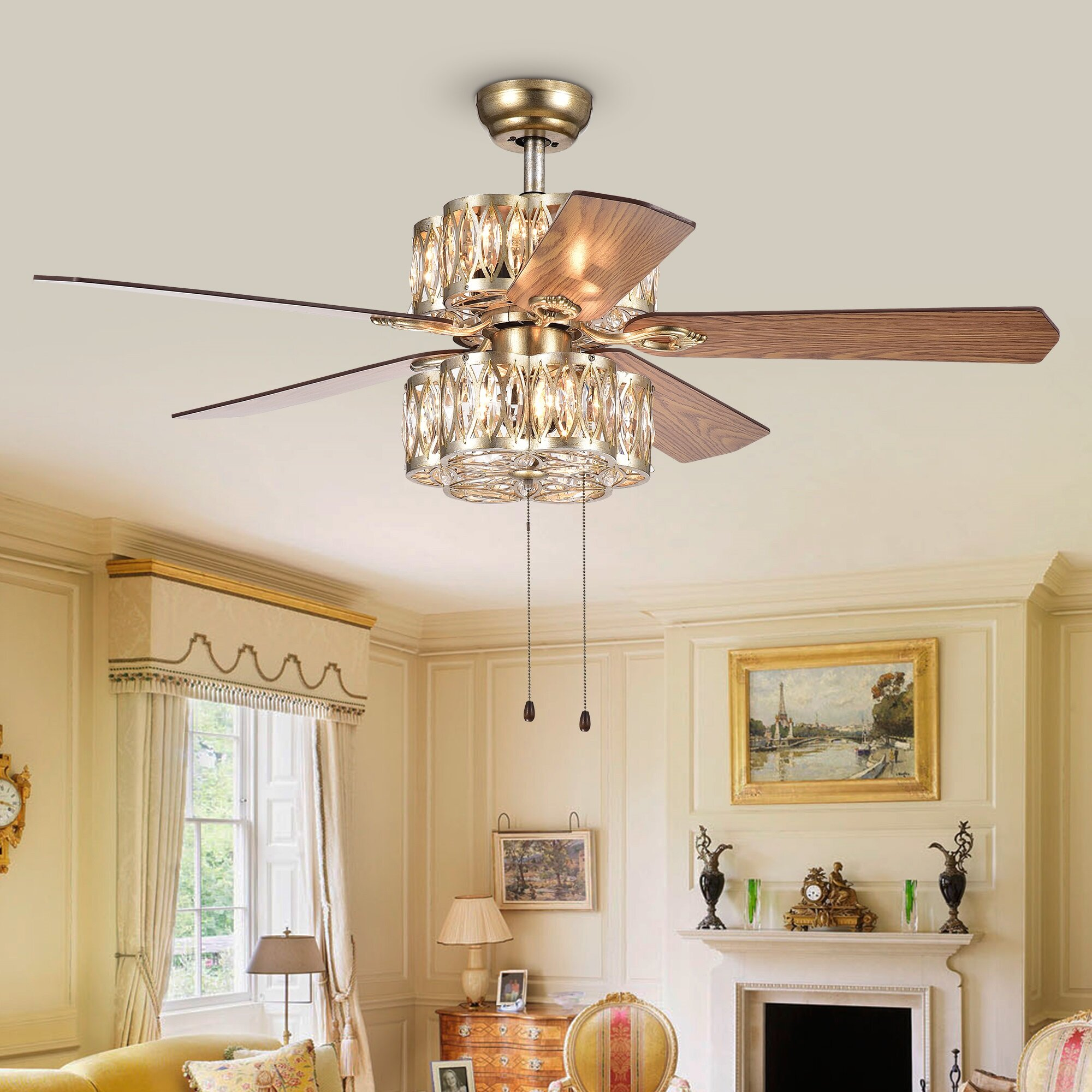 chrome ceiling with blade inch light chandelier crystal product optional shipping free garden fan today wyllow overstock home remote