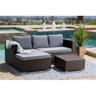 Battista Outdoor Wicker Patio Sectional Set With Cushions, Espresso/Grey
