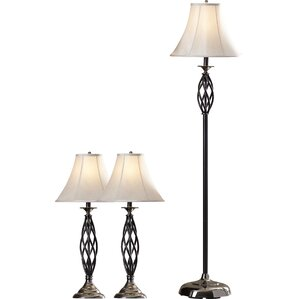 Dunrobin 3 Piece Table And Floor Lamp Set