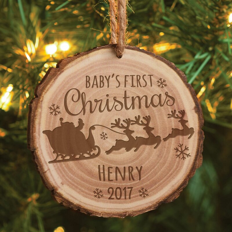 The Holiday Aisle Baby's First Christmas Personalized Shaped Ornament & Reviews | Wayfair.ca