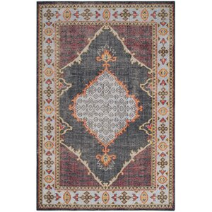 Hargrave Hand-Knotted Blue/Red Area Rug