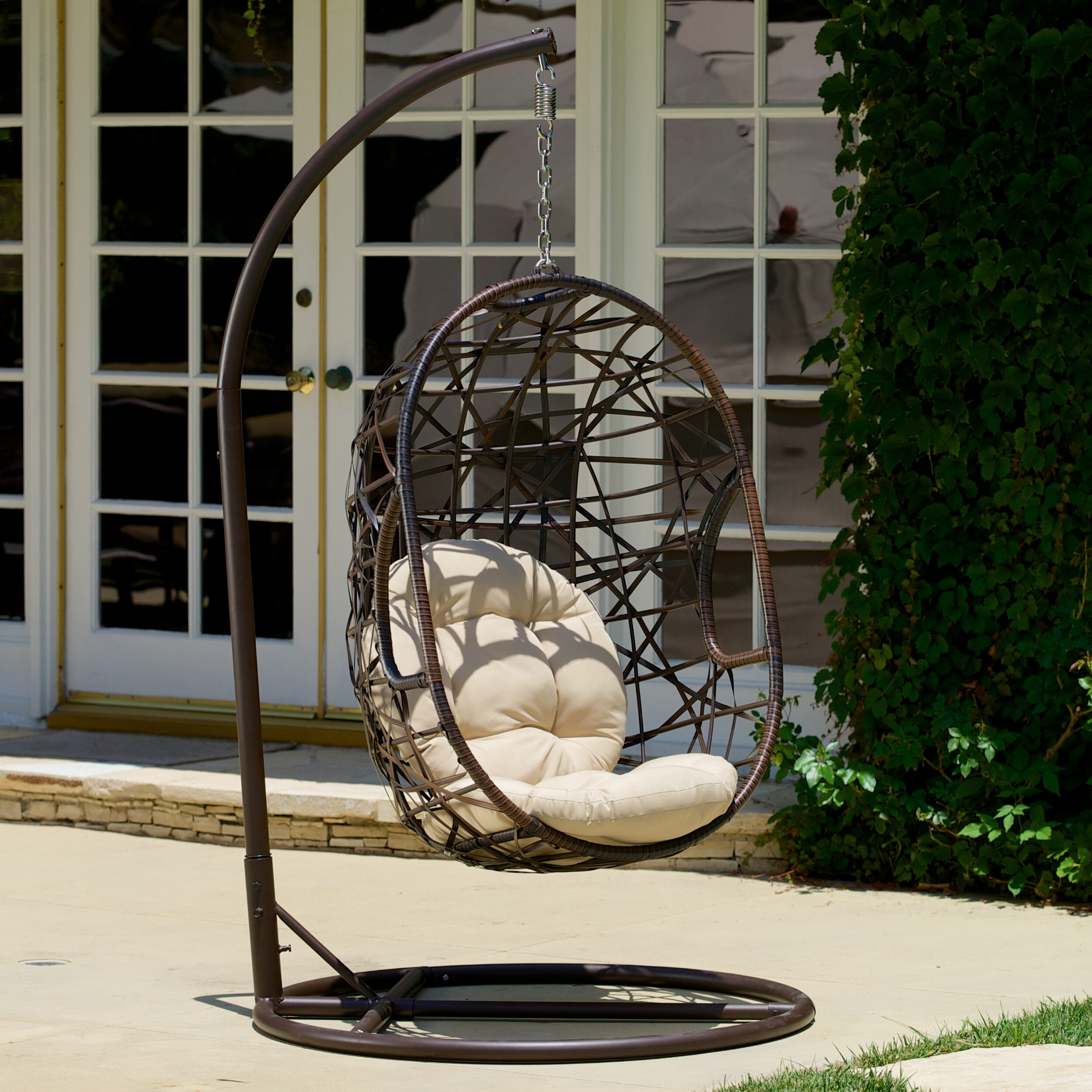 Charmant Adelia Egg Shaped Outdoor Swing Chair With Stand