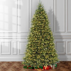 fir 12 hinged green artificial christmas tree with 1500 clear lights - 12 Christmas Tree