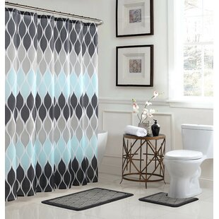 Modern Contemporary Bathroom Shower Curtain Set
