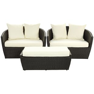 Fountain 3 Piece Rattan Sofa Set With Cushions