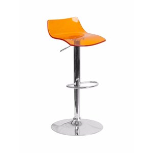 Aguon Transparent Acrylic Adjustable Height Swivel Bar Stool by Ivy Bronx
