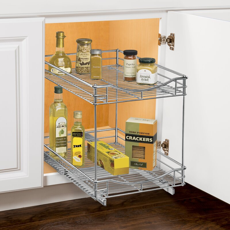 Roll Out Double Shelf   Pull Out Two Tier Sliding Under Cabinet Organizer    11 Inch