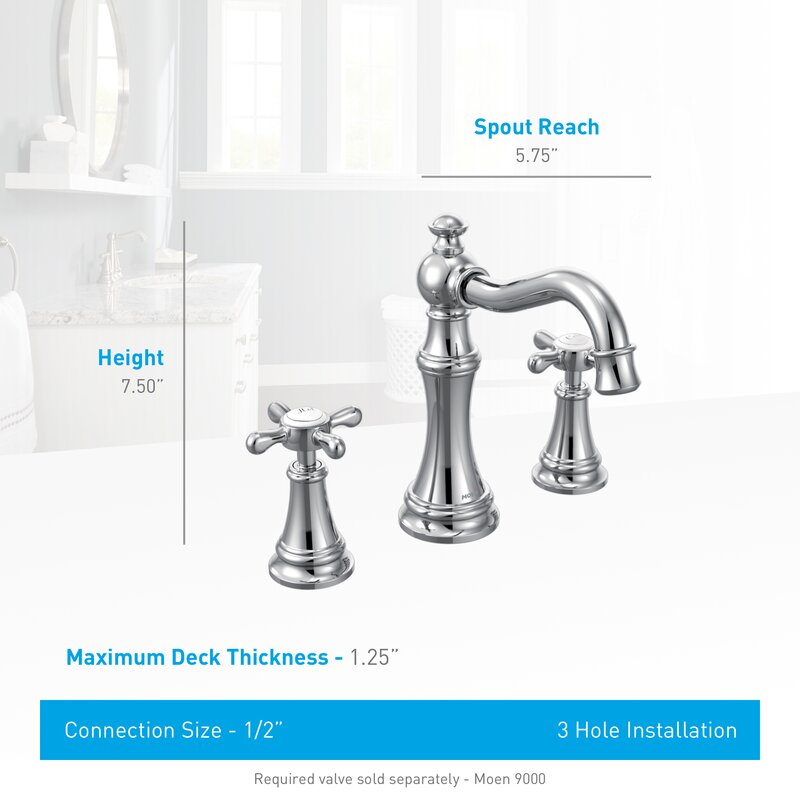 Moen Weymouth Widespread High Arc Bathroom Faucet with Optional Pop ...