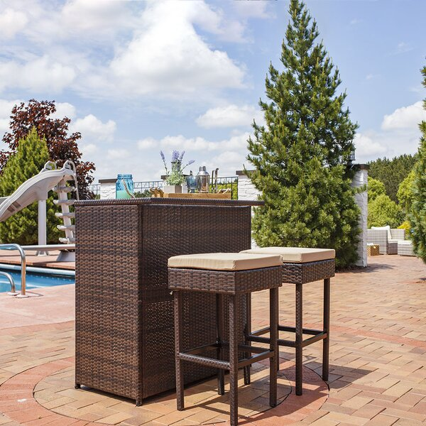 Bayou Breeze Elizabethtown 3Piece Wicker Rattan Outdoor Patio Bar