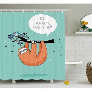 Estes Flirty Sloth Cartoon Shower Curtain
