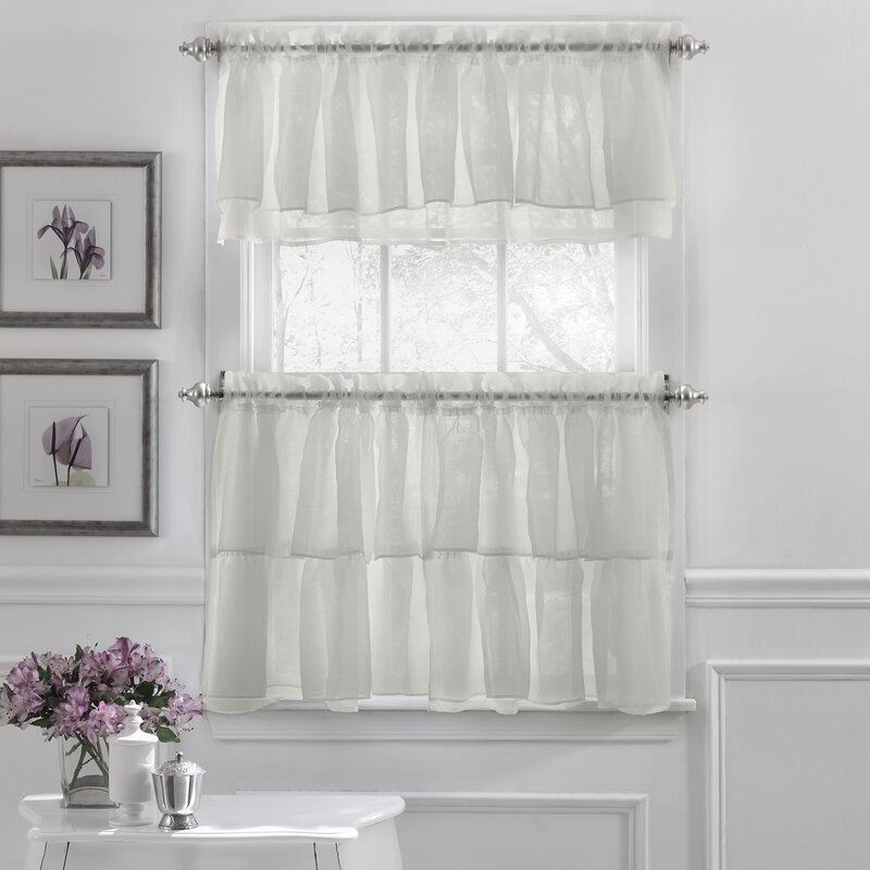 Sweet Home Collection Elegant Crushed Voile Ruffle Kitchen ...