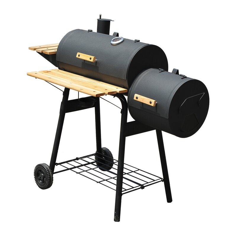 "Backyard Charcoal Grill outsunny 25"" backyard charcoal grill with smoker & reviews | wayfair"