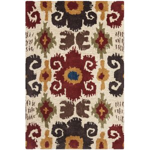 Dorthy Ivory/Red Contemporary Area Rug