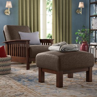 Delightful Hoekstra Mission Fabric Armchair And Ottoman