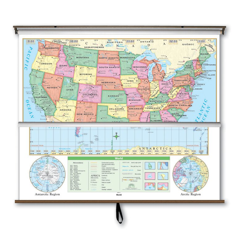 Universal Map Essential Wall Map Combo Us World Reviews - Clear-us-map