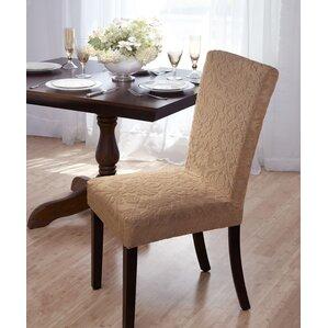 Velvet Damask Parson Chair Slipcover