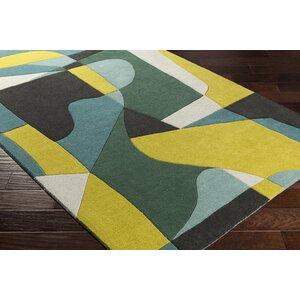 Dewald Hand-Tufted Green/Yellow Area Rug