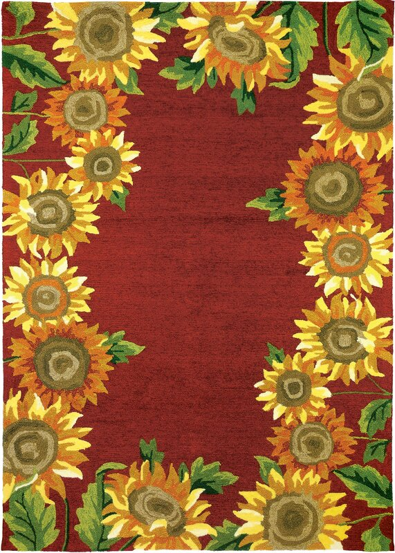 August Grove Valois Sunflower Field Red Yellow Indoor Outdoor Area Rug Amp Reviews Wayfair