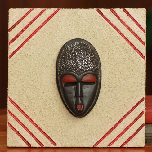 Novica Born on Wednesday Ashanti Authentic African Mask Plaque Wall ...