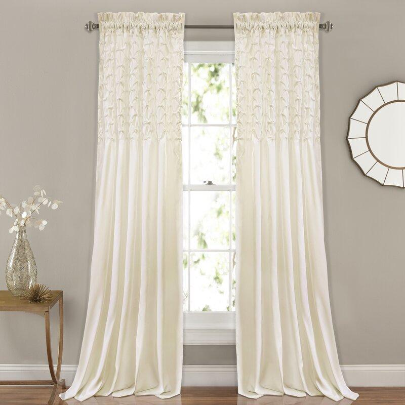 Elzira Solid Semi-Sheer Thermal Rod Pocket Curtain Panels