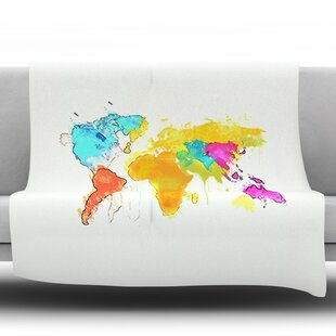 World map blanket wayfair world map by oriana cordero fleece throw blanket gumiabroncs Image collections
