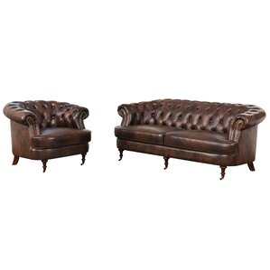 Mccarville Leather 2 Piece Living Room Set (Set of 2) by Three Posts