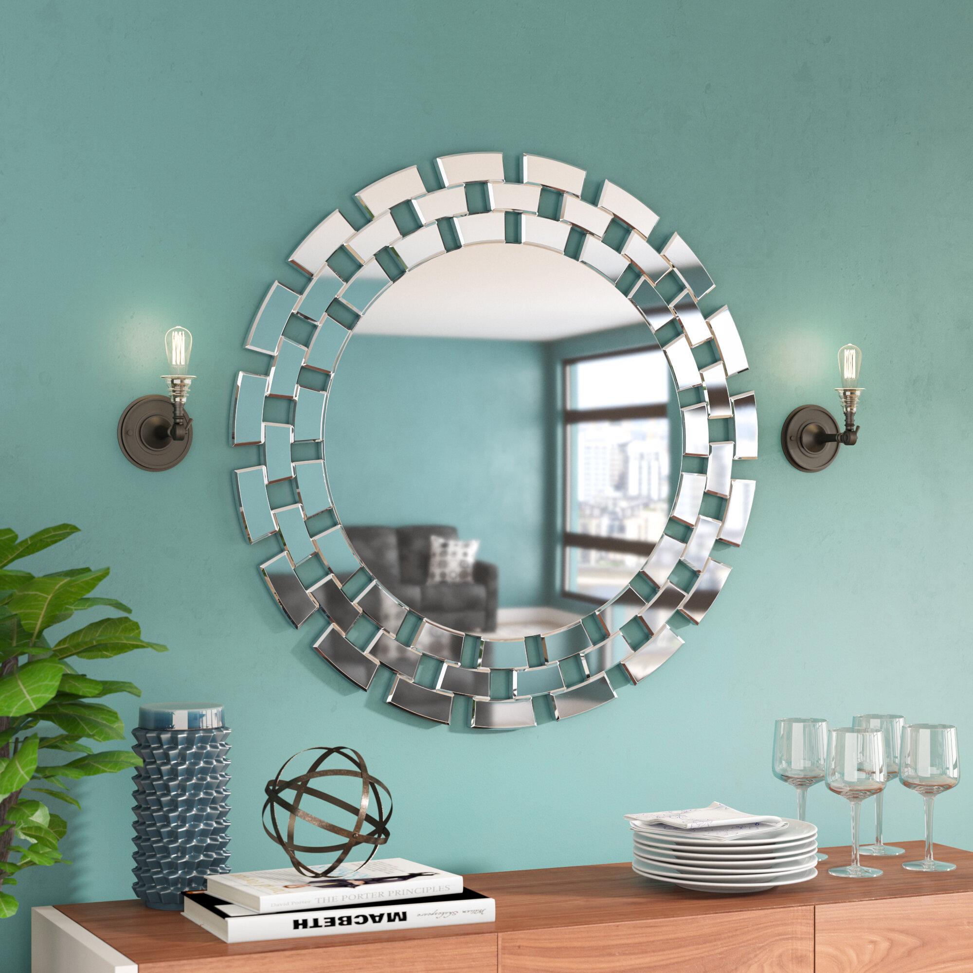 Brayden Studio Round Glass Wall Mirror