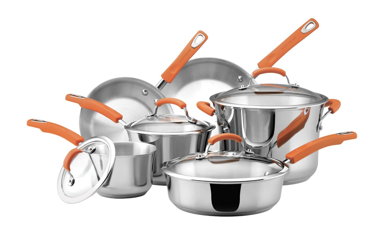 Rachael Ray 10 Piece Stainless Steel Cookware Set & Reviews | Wayfair