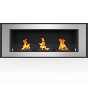 Orren Ellis Maybelle Contemporary Ventless Built in Recessed Wall Mounted Bio-Ethanol Fireplace