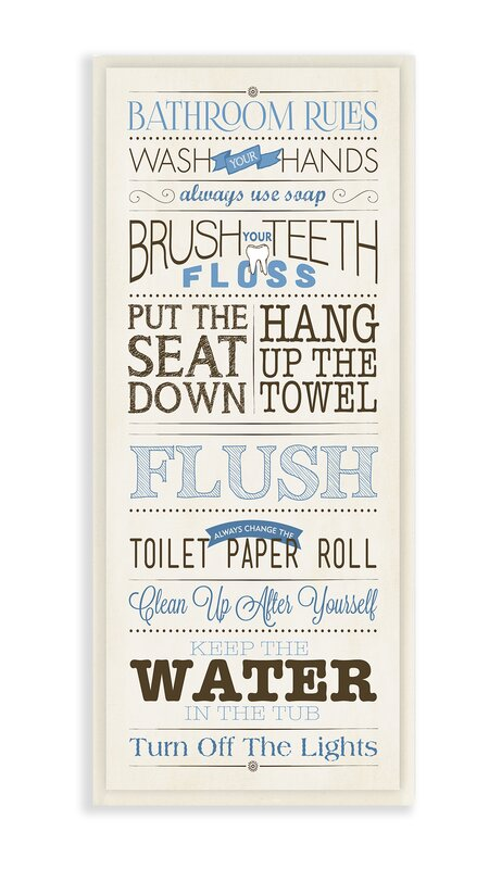 Andover Mills Modern Skinny Bathroom Rules Framed Textual Art