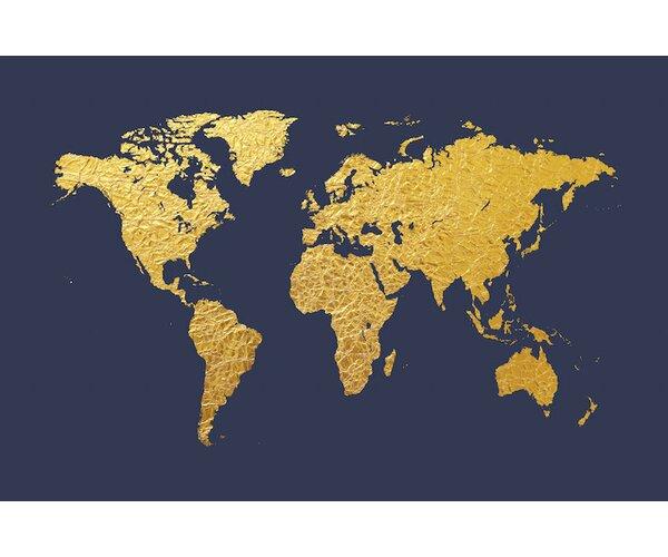 East urban home world map series gold foil on denim graphic art on east urban home world map series gold foil on denim graphic art on wrapped canvas wayfair gumiabroncs Choice Image