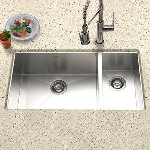 Contempo 33 X 18 Zero Radius Undermount Double Bowl 70 30 Kitchen Sink