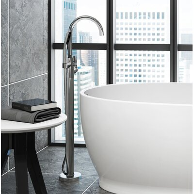 Round Single Handle Freestanding Tub Filler Trim With Hand Shower