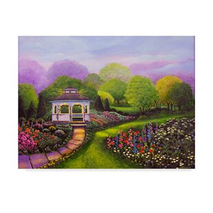 Gazebo Park Acrylic Painting Print On Wrapped Canvas