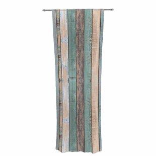 Susan Sanders Coastal Beach Wood Photography Decorative Stripe Sheer Rod Pocket Curtain Panels Set Of 2