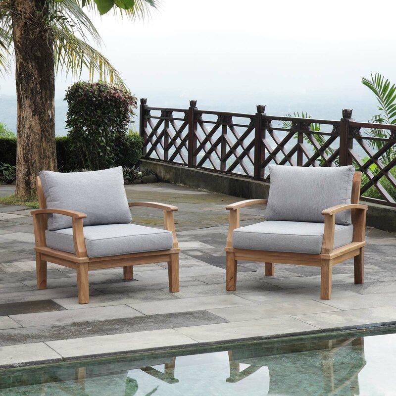 Elaina Outdoor Teak Patio Chair With Cushions Joss Main