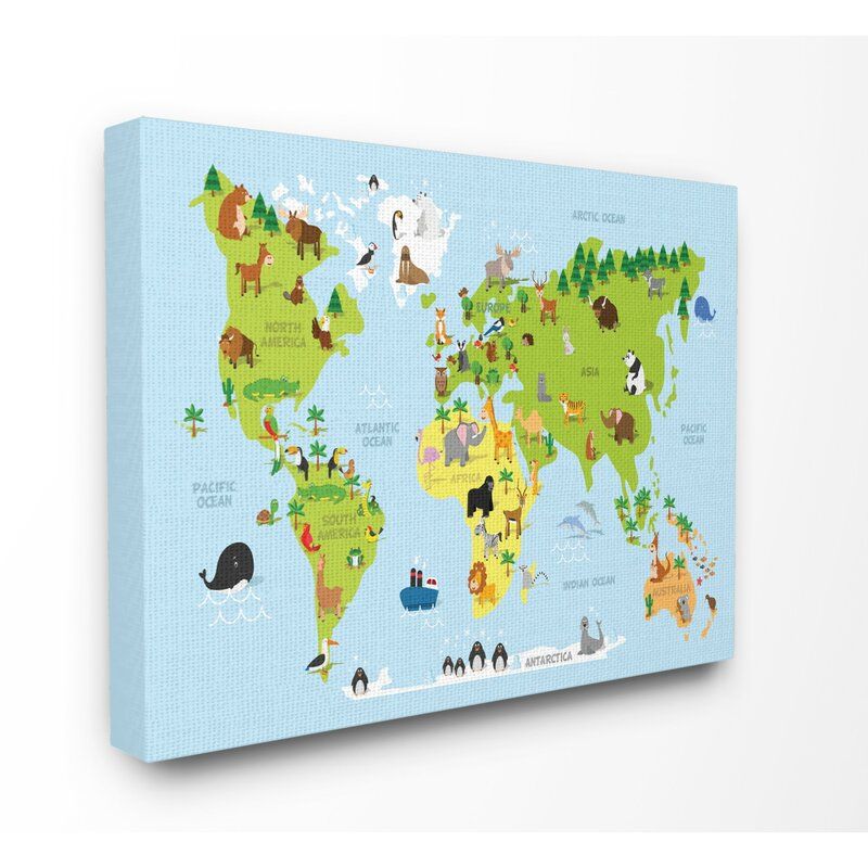 Harriet bee feemster world map cartoon and colorful canvas art feemster world map cartoon and colorful canvas art gumiabroncs Images