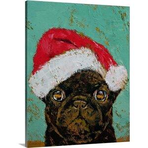 'Santa Pug' by Michael Creese Painting Print