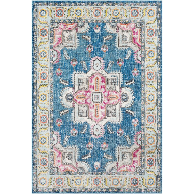 Bungalow Rose Tillamook Sky Blue Bright Pink Area Rug