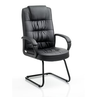 Beau Pueblo Leather Cantilever Office Chair With Arms ...