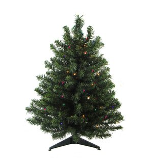 2 Green Artificial Christmas Tree With 30 Led Multi Color Lights And Stand