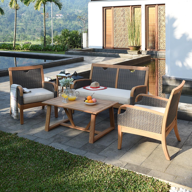 Mansfield 4 Piece Teak Sofa Seating Group with Cushions | Birch Lane