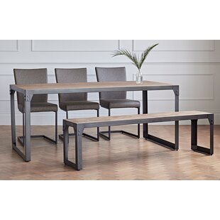 Evie Dining Set with 3 Chairs and 1 Bench  sc 1 st  Wayfair & Dining Table With Bench Set | Wayfair.co.uk